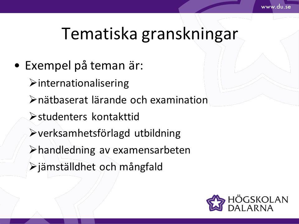 Tematiska granskningar Exempel på teman är:  internationalisering  nätbaserat lärande och examination  studenters kontakttid  verksamhetsförlagd utbildning  handledning av examensarbeten  jämställdhet och mångfald