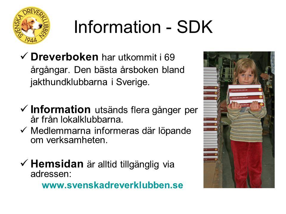 Statistik - SDK Det finns nu ~9 000 st drevrar i landet Medlemsantalet i SDK är ~2 600 st Det startar ~600 st drevrar på drevprov och ~800 st på utställningar per år i SDK