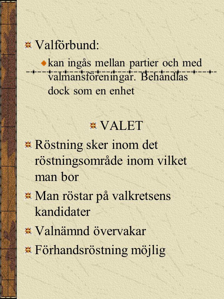KANDIDATNOMINE- RING Kandidaterkan ställas upp av: politiska partier valmansföreningar 100 röstberättigade 30 på Åland Valbara: röstberättigade inte vissa tjänstemän och yrkesgrupper Kandidatantal: max samma som mandatantalet dock minst 14