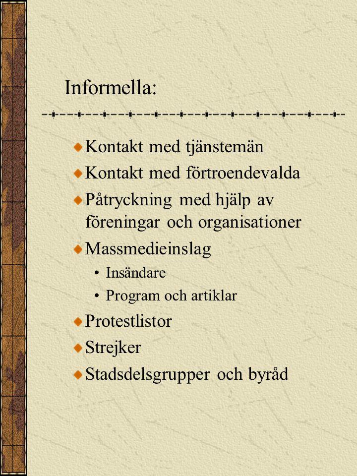 Kommunmedlemmarnas möjlighet att påverka Påverkningsmöjligheter Formella: Rösta Kandidera Medlemskap i organ Anmärkningsrätt Rätt att göra rättelseyrkande Besvärsrätt Initiativrätt