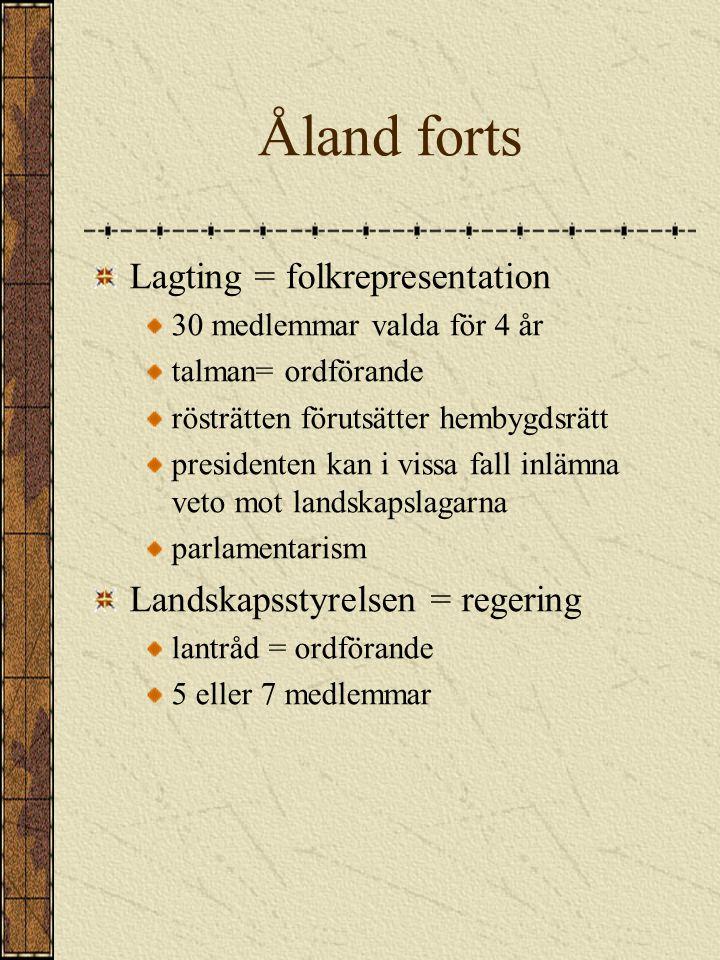 ÅLAND Landskap i Finland Självstyrande egen beslutande- och lagstiftningsrätt i gemensamma frågor som myntväsende och utrikespolitik gäller finska bestämmelser Demilitariserat inga försvarsanläggningar eller militär personal, ingen värnplikt