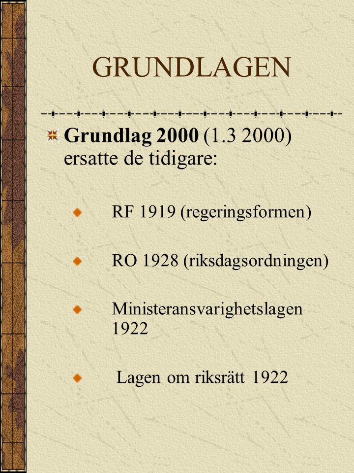 GRUNDLAGEN Grundlag 2000 (1.3 2000) ersatte de tidigare: RF 1919 (regeringsformen) RO 1928 (riksdagsordningen) Ministeransvarighetslagen 1922 Lagen om riksrätt 1922