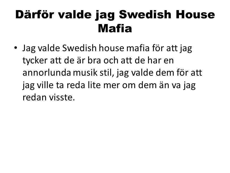 Därför valde jag Swedish House Mafia Jag valde Swedish house mafia för att jag tycker att de är bra och att de har en annorlunda musik stil, jag valde dem för att jag ville ta reda lite mer om dem än va jag redan visste.