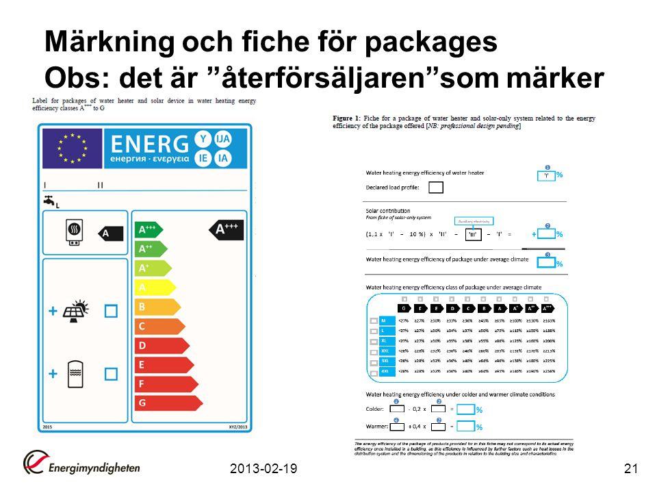 """2013-02-1921 Märkning och fiche för packages Obs: det är """"återförsäljaren""""som märker"""