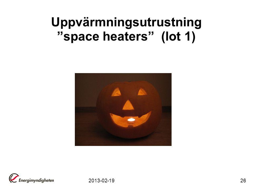 """2013-02-1926 Uppvärmningsutrustning """"space heaters"""" (lot 1)"""