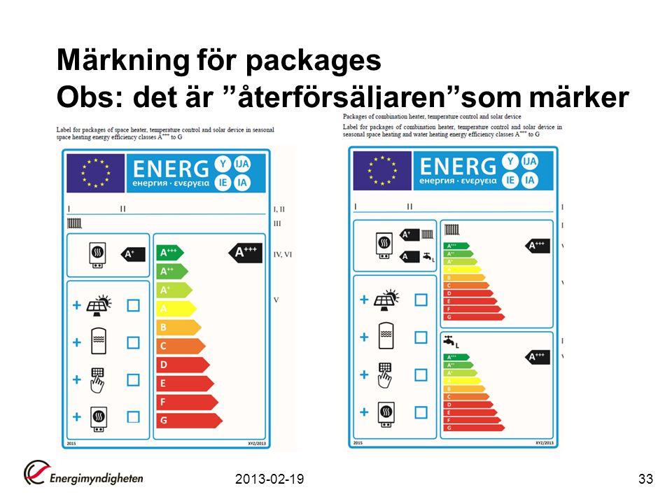 """Märkning för packages Obs: det är """"återförsäljaren""""som märker 2013-02-1933"""