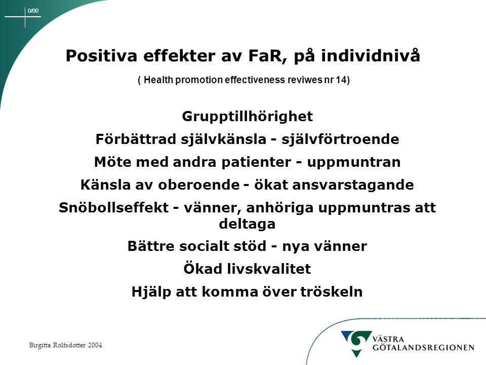 0/00 Birgitta Rolfsdotter 2004 Positiva effekter av FaR, på individnivå ( Health promotion effectiveness reviwes nr 14) Grupptillhörighet Förbättrad självkänsla - självförtroende Möte med andra patienter - uppmuntran Känsla av oberoende - ökat ansvarstagande Snöbollseffekt - vänner, anhöriga uppmuntras att deltaga Bättre socialt stöd - nya vänner Ökad livskvalitet Hjälp att komma över tröskeln