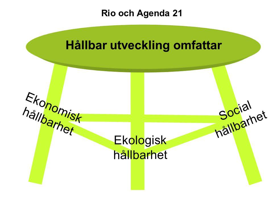 Ekologisk hållbarhet Social hållbarhet Ekonomisk hållbarhet Hållbar utveckling omfattar Rio och Agenda 21
