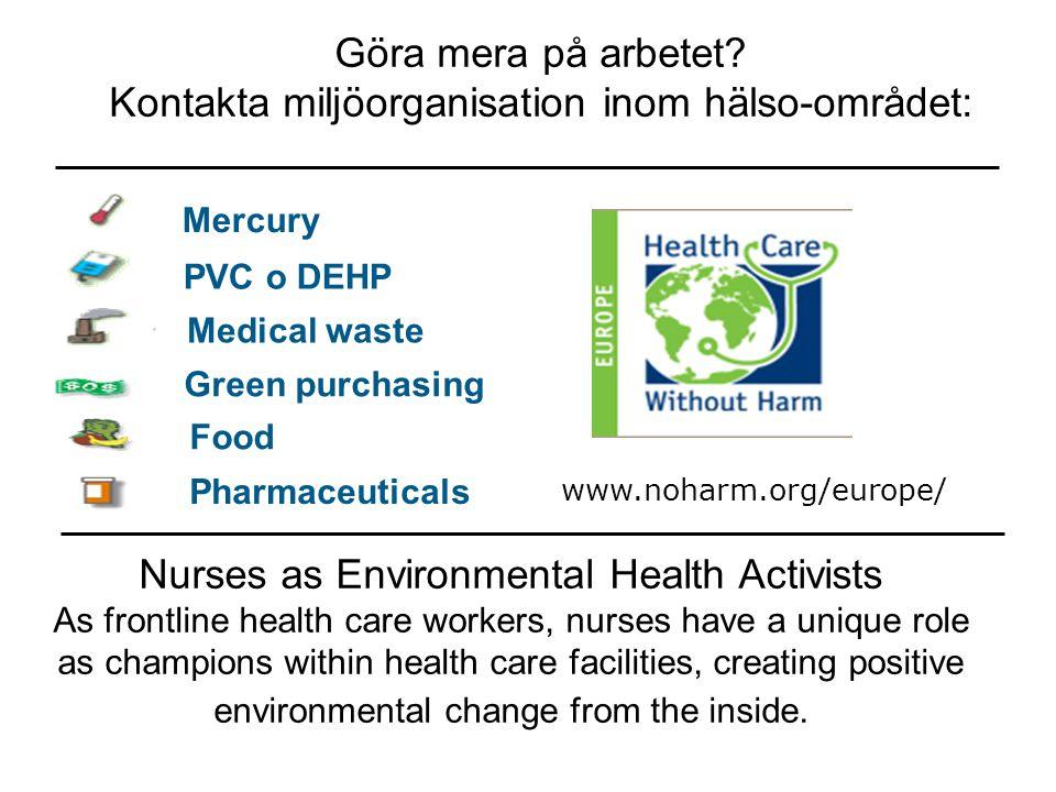 Medical waste Mercury PVC o DEHP Green purchasing Food Pharmaceuticals Göra mera på arbetet? Kontakta miljöorganisation inom hälso-området: www.noharm
