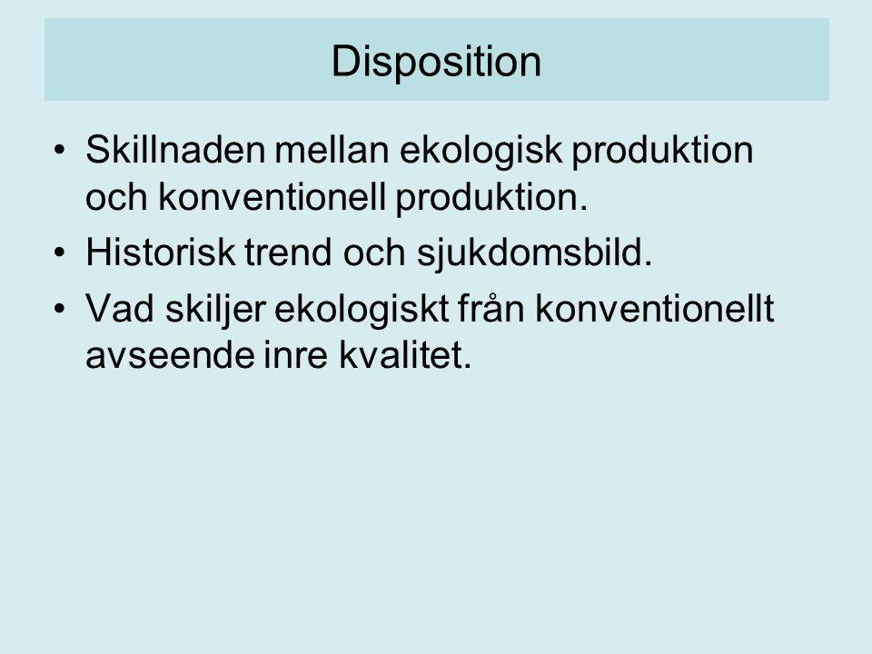 Disposition Skillnaden mellan ekologisk produktion och konventionell produktion.