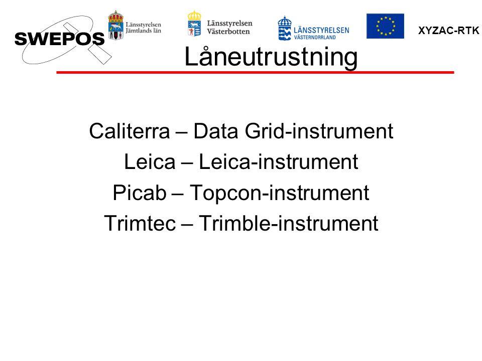 XYZAC-RTK Låneutrustning Caliterra – Data Grid-instrument Leica – Leica-instrument Picab – Topcon-instrument Trimtec – Trimble-instrument