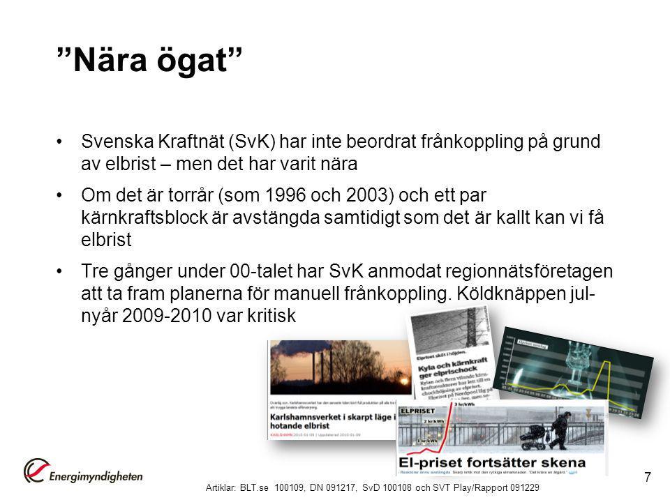 Före och efter Styrel I dag sker frånkoppling på regionnätsnivå och alla drabbas inom stora områden Med Styrel kan frånkoppling ske på lokalnätsnivå och elen styras till de som är viktigast 8 Bild: Svensk Energi