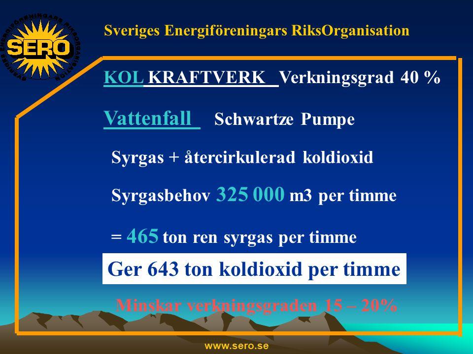 Sveriges Energiföreningars RiksOrganisation www.sero.se KOL KRAFTVERK Verkningsgrad 40 % Vattenfall Schwartze Pumpe Syrgas + återcirkulerad koldioxid