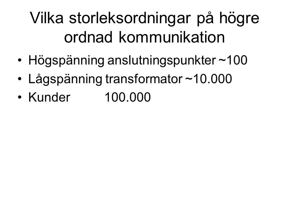 Vilka storleksordningar på högre ordnad kommunikation Högspänning anslutningspunkter ~100 Lågspänning transformator ~10.000 Kunder100.000