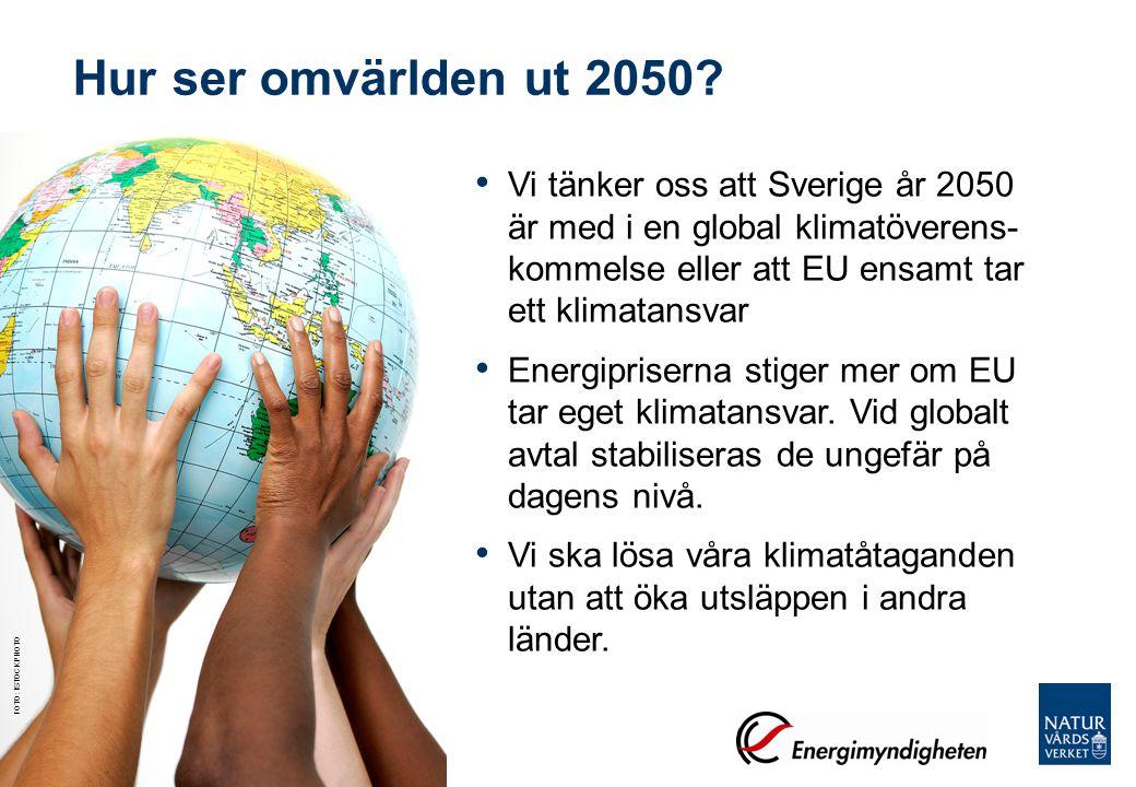 Vi tänker oss att Sverige år 2050 är med i en global klimatöverens- kommelse eller att EU ensamt tar ett klimatansvar Energipriserna stiger mer om EU