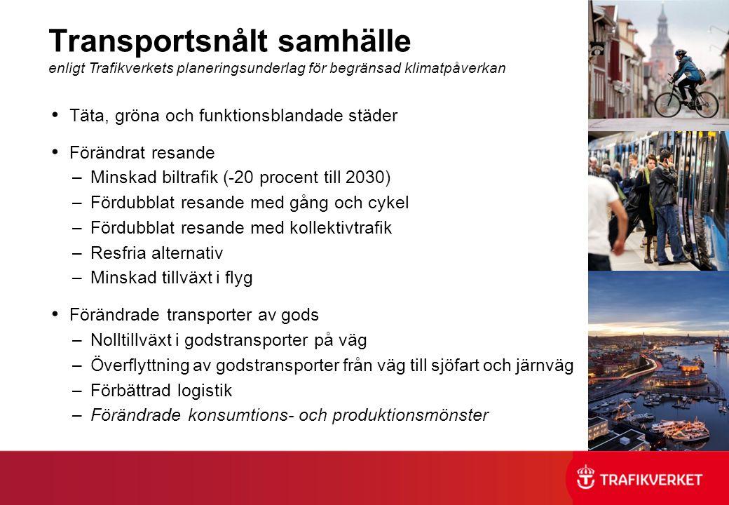 Transportsnålt samhälle enligt Trafikverkets planeringsunderlag för begränsad klimatpåverkan Täta, gröna och funktionsblandade städer Förändrat resand