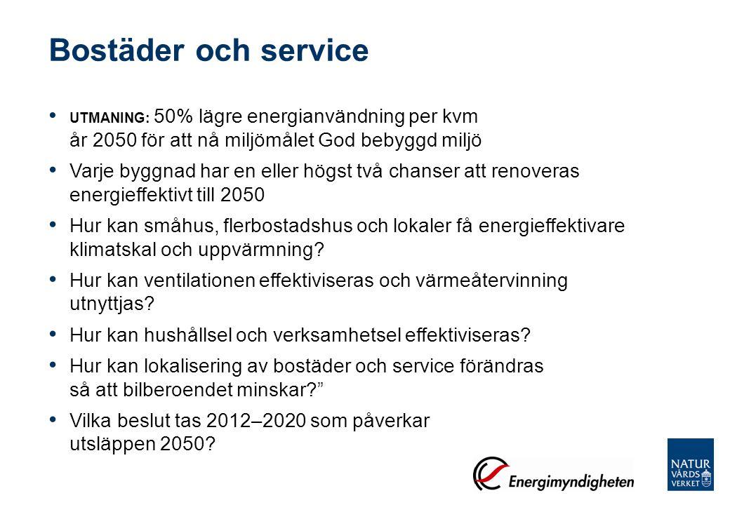 Bostäder och service UTMANING: 50% lägre energianvändning per kvm år 2050 för att nå miljömålet God bebyggd miljö Varje byggnad har en eller högst två