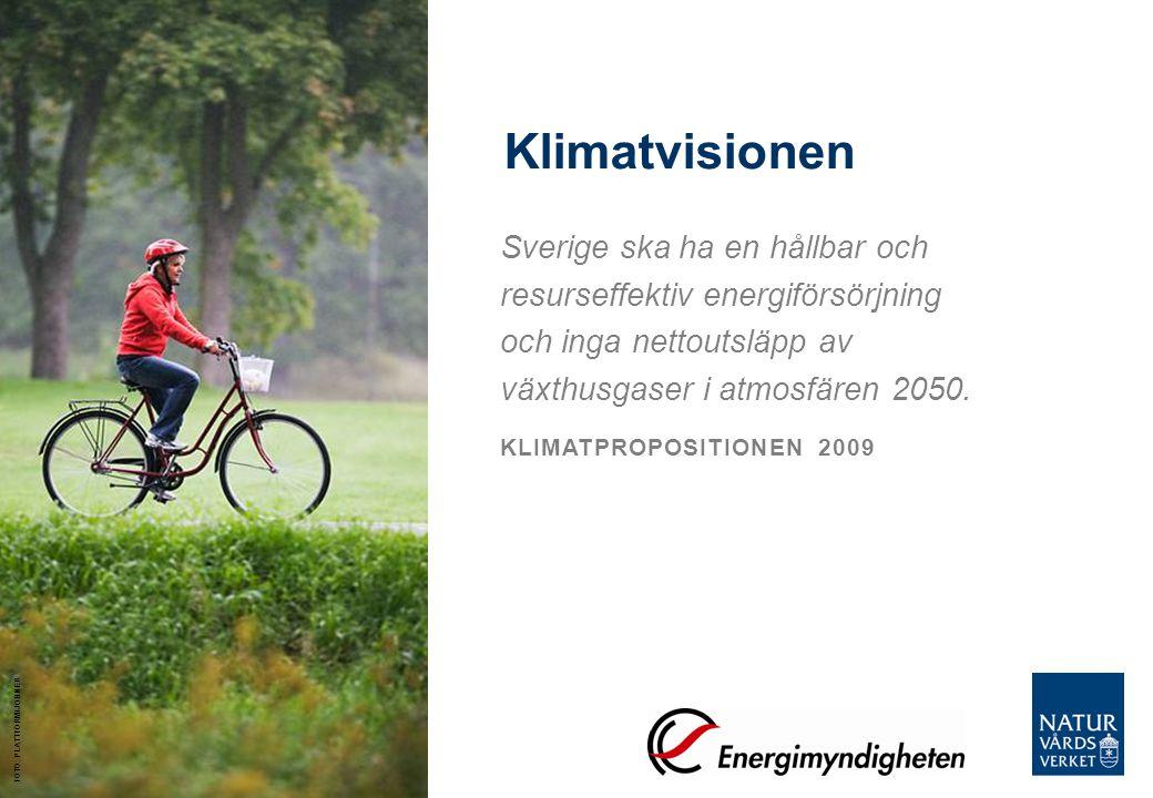 Klimatvisionen Sverige ska ha en hållbar och resurseffektiv energiförsörjning och inga nettoutsläpp av växthusgaser i atmosfären 2050. KLIMATPROPOSITI