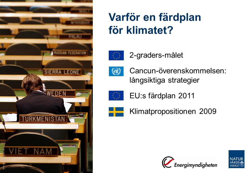 Regeringsuppdrag Naturvårdsverket har fått i uppdrag att ta fram underlag till en svensk färdplan Utsläppens framtida utveckling till 2050 –Med dagens styrmedel –Med scenarier om hur klimatvisionen kan uppnås Analys av styrmedelsförändringar, sektorsvis och övergripande Olika sätt att se på nollutsläpp kopplat till sänka Bevaka läget i internationella förhandlingar och EU-policy Konsekvensbedömning