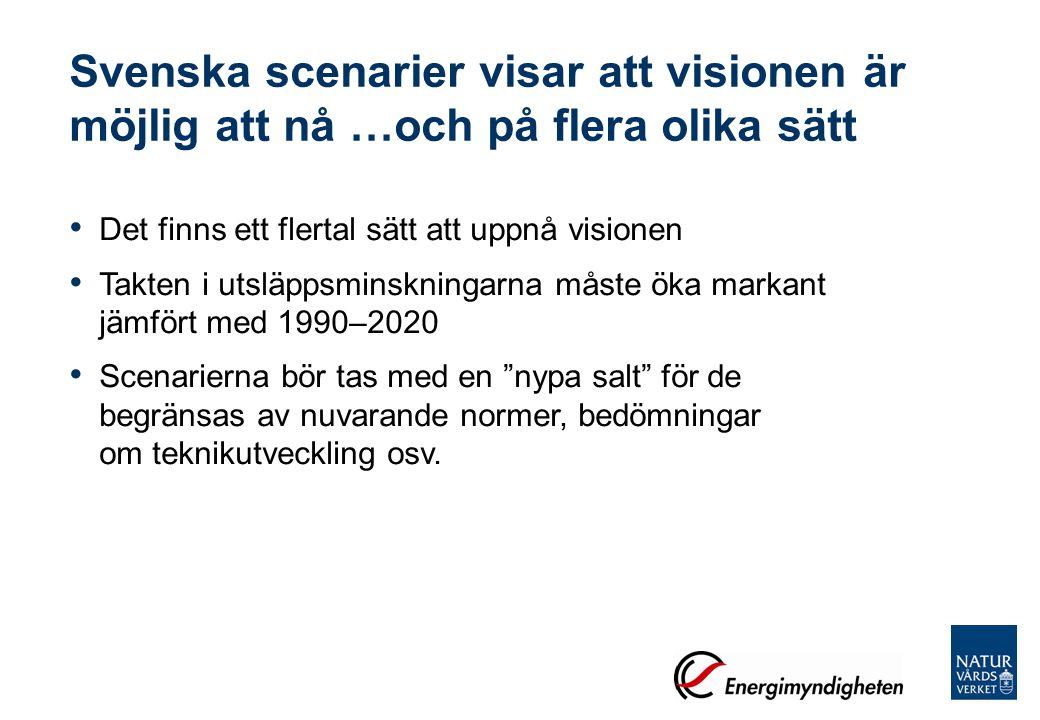 Alla svenska scenarier pekar på … behoven av energieffektivisering möjligheterna till fordon som använder el- och/eller förnybara drivmedel koldioxidavskiljning och –lagring (CCS) Några tar upp att avgörande faktorer är konsumtionsmönster tillgången på bioenergi samhällsplanering elnät