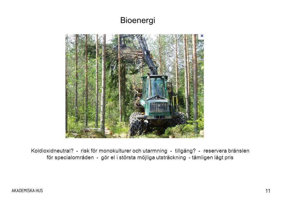 11 Bioenergi Koldioxidneutral.- risk för monokulturer och utarmning - tillgång.