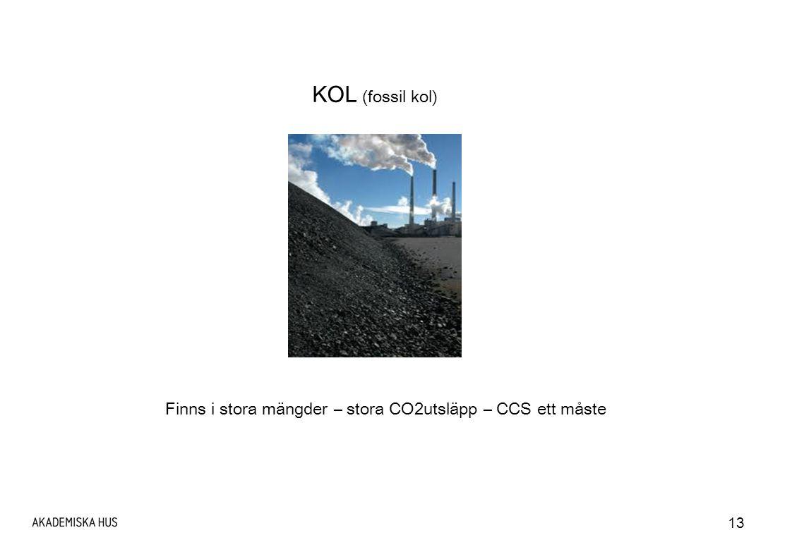 13 KOL (fossil kol) Finns i stora mängder – stora CO2utsläpp – CCS ett måste