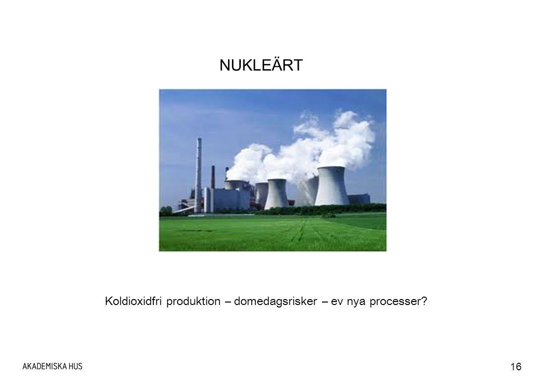 16 NUKLEÄRT Koldioxidfri produktion – domedagsrisker – ev nya processer?
