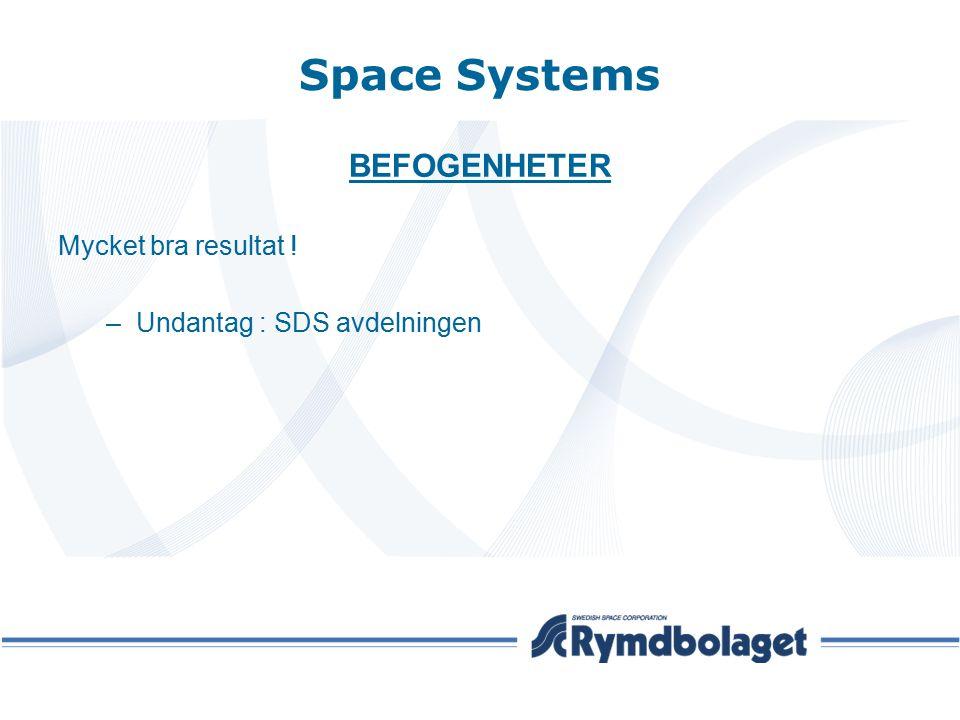 Space Systems BEFOGENHETER Mycket bra resultat ! –Undantag : SDS avdelningen