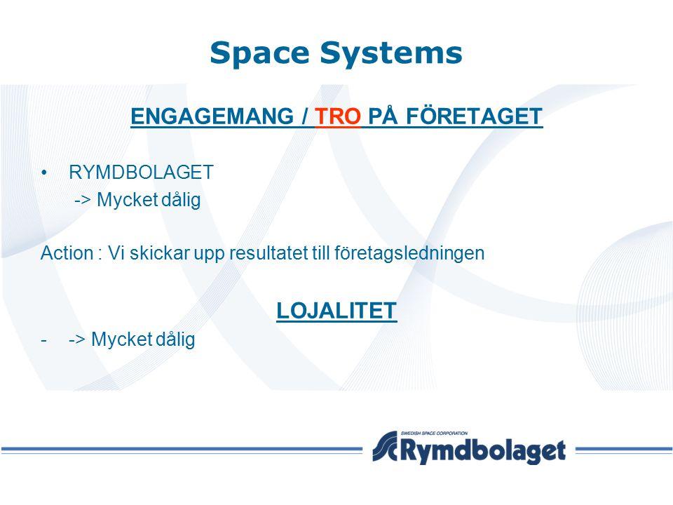 Space Systems ENGAGEMANG / TRO PÅ FÖRETAGET RYMDBOLAGET -> Mycket dålig Action : Vi skickar upp resultatet till företagsledningen LOJALITET --> Mycket