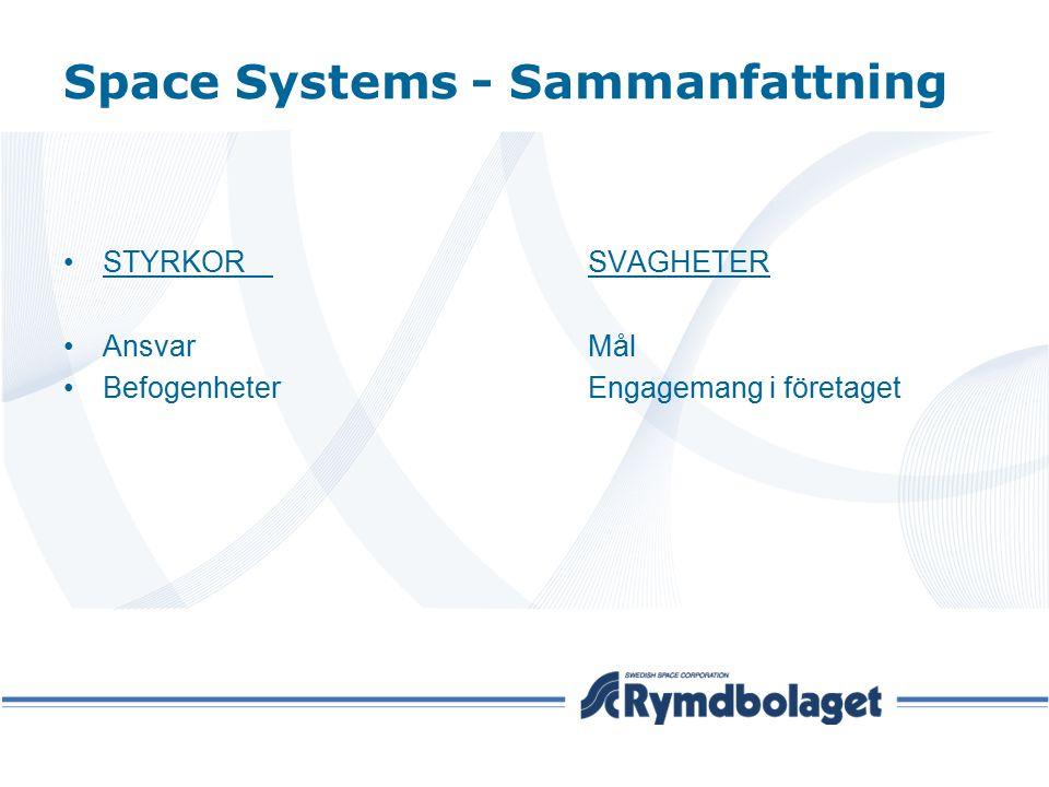 Space Systems - Sammanfattning STYRKORSVAGHETER AnsvarMål BefogenheterEngagemang i företaget