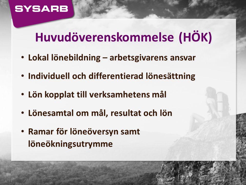 Huvudöverenskommelse (HÖK) Lokal lönebildning – arbetsgivarens ansvar Individuell och differentierad lönesättning Lön kopplat till verksamhetens mål L