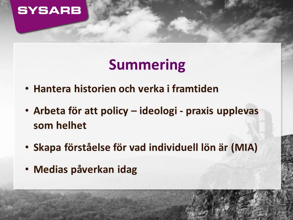Summering Hantera historien och verka i framtiden Arbeta för att policy – ideologi - praxis upplevas som helhet Skapa förståelse för vad individuell l