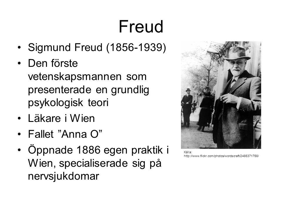 """Freud Sigmund Freud (1856-1939) Den förste vetenskapsmannen som presenterade en grundlig psykologisk teori Läkare i Wien Fallet """"Anna O"""" Öppnade 1886"""