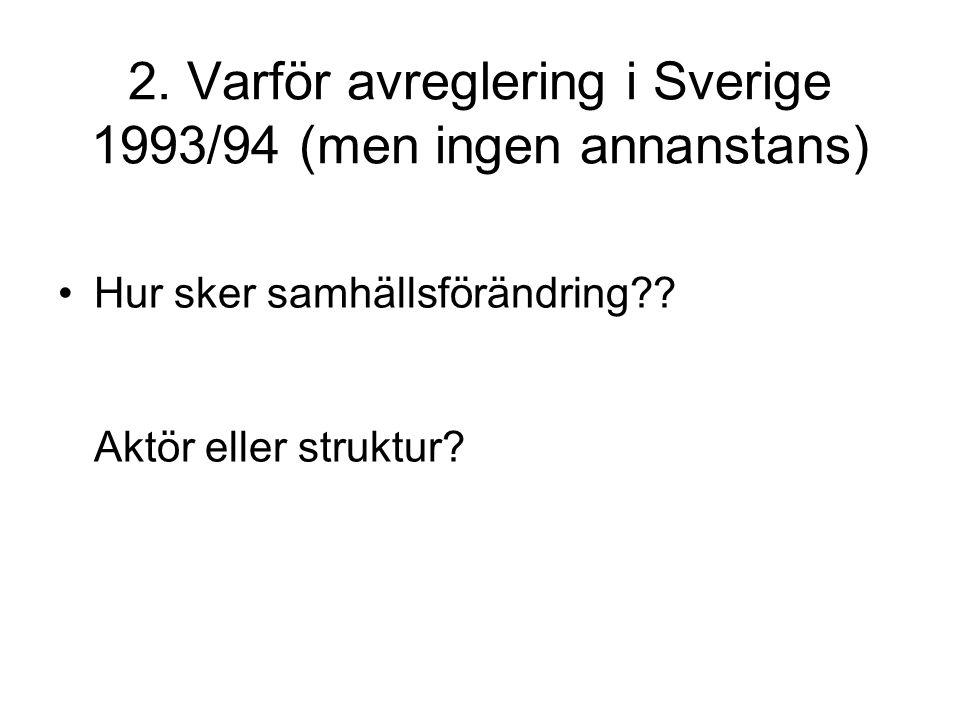 2. Varför avreglering i Sverige 1993/94 (men ingen annanstans) Hur sker samhällsförändring?? Aktör eller struktur?