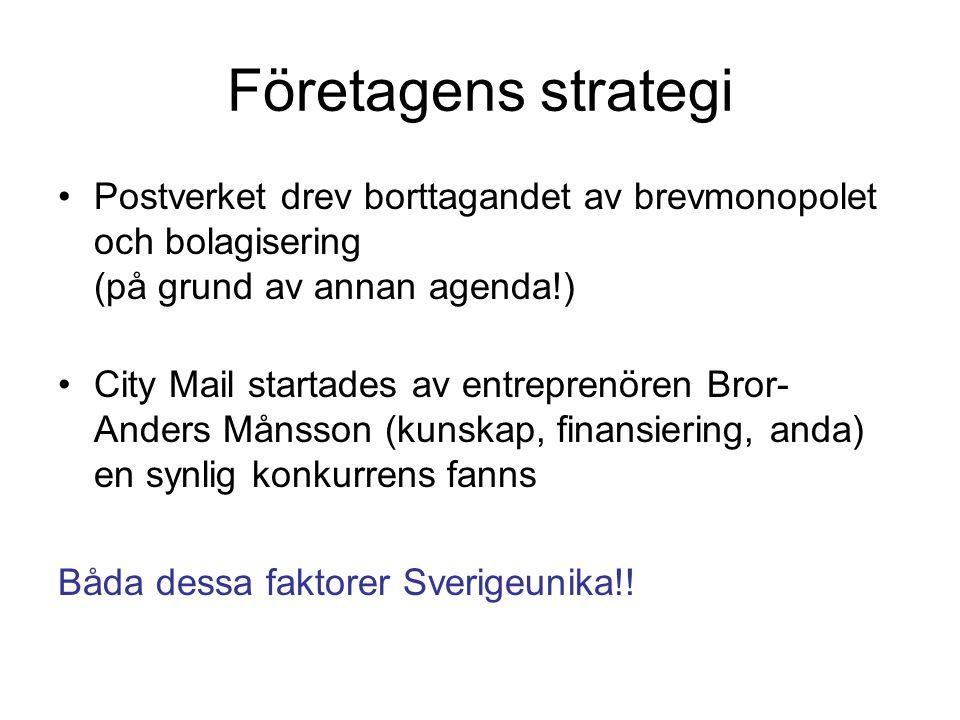 Företagens strategi Postverket drev borttagandet av brevmonopolet och bolagisering (på grund av annan agenda!) City Mail startades av entreprenören Bror- Anders Månsson (kunskap, finansiering, anda) en synlig konkurrens fanns Båda dessa faktorer Sverigeunika!!