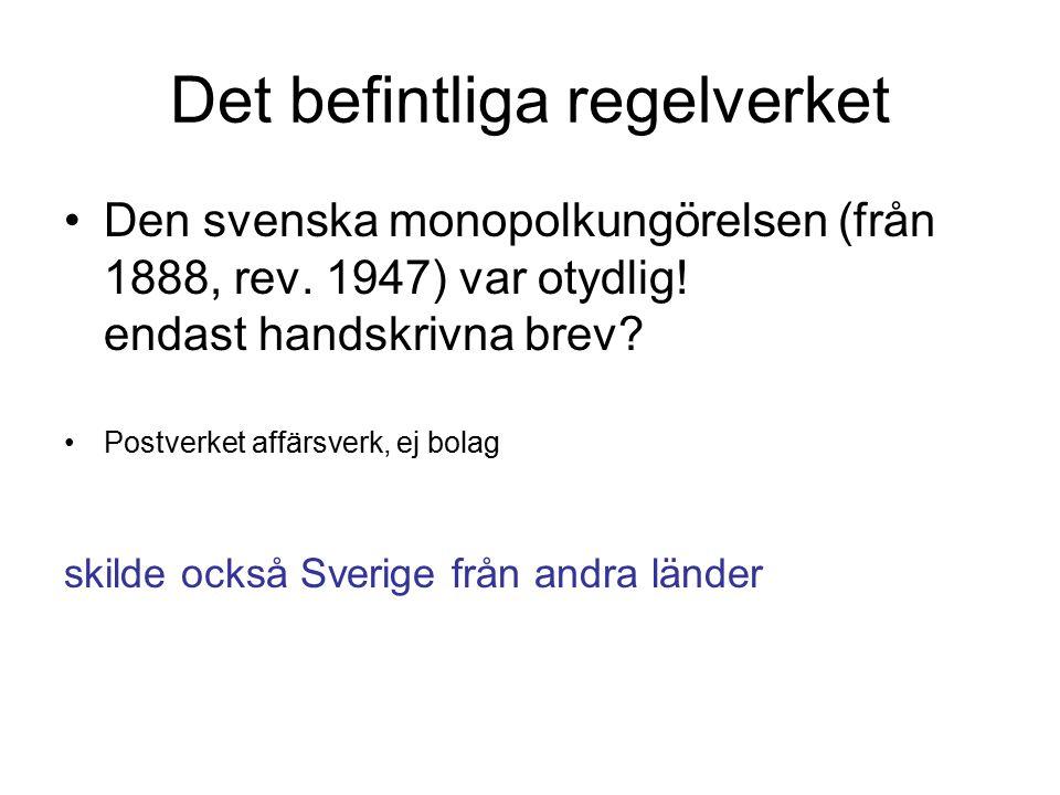 Det befintliga regelverket Den svenska monopolkungörelsen (från 1888, rev. 1947) var otydlig! endast handskrivna brev? Postverket affärsverk, ej bolag