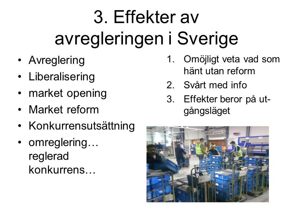 3. Effekter av avregleringen i Sverige Avreglering Liberalisering market opening Market reform Konkurrensutsättning omreglering… reglerad konkurrens…
