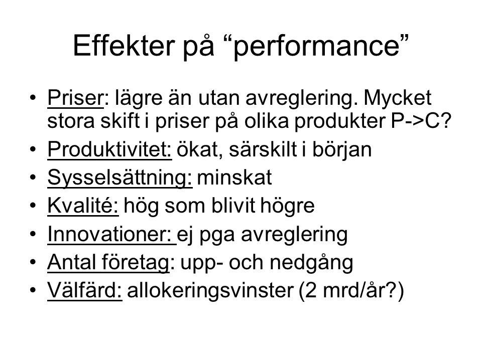 """Effekter på """"performance"""" Priser: lägre än utan avreglering. Mycket stora skift i priser på olika produkter P->C? Produktivitet: ökat, särskilt i börj"""