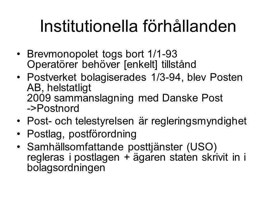Institutionella förhållanden Brevmonopolet togs bort 1/1-93 Operatörer behöver [enkelt] tillstånd Postverket bolagiserades 1/3-94, blev Posten AB, helstatligt 2009 sammanslagning med Danske Post ->Postnord Post- och telestyrelsen är regleringsmyndighet Postlag, postförordning Samhällsomfattande posttjänster (USO) regleras i postlagen + ägaren staten skrivit in i bolagsordningen