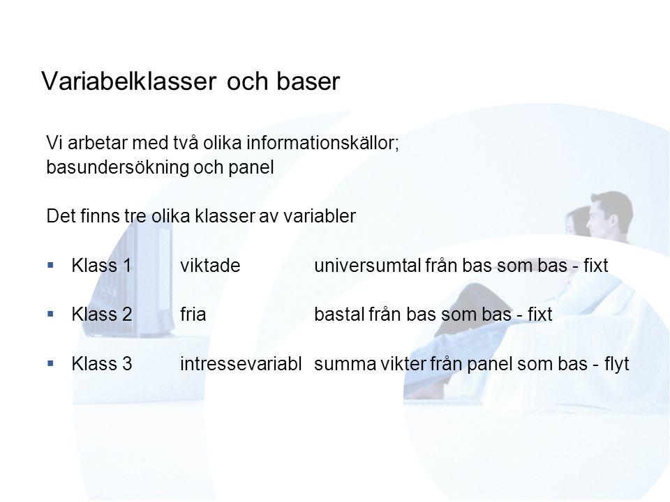 Variabelklasser och baser Vi arbetar med två olika informationskällor; basundersökning och panel Det finns tre olika klasser av variabler  Klass 1vik