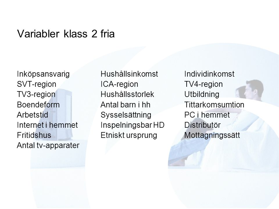 Variabler klass 2 fria InköpsansvarigHushållsinkomstIndividinkomst SVT-regionICA-regionTV4-region TV3-regionHushållsstorlekUtbildning BoendeformAntal
