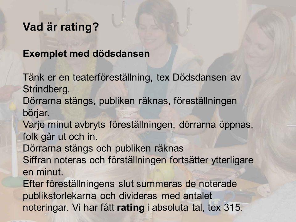 Vad är rating? Exemplet med dödsdansen Tänk er en teaterföreställning, tex Dödsdansen av Strindberg. Dörrarna stängs, publiken räknas, föreställningen