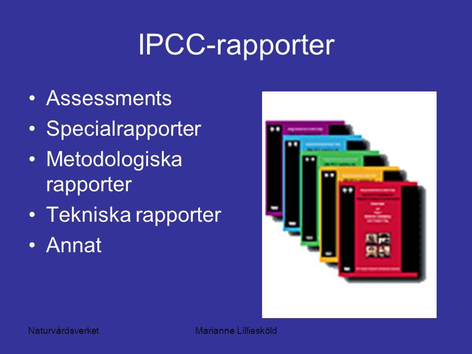 NaturvårdsverketMarianne Lilliesköld IPCC-rapporter Assessments Specialrapporter Metodologiska rapporter Tekniska rapporter Annat