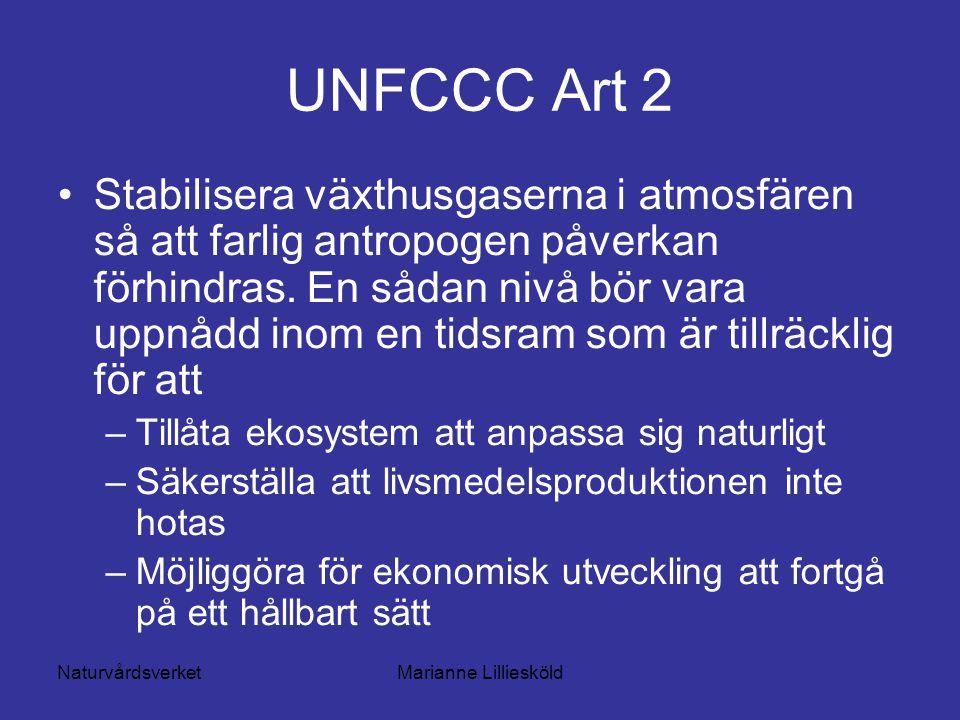 NaturvårdsverketMarianne Lilliesköld UNFCCC Art 2 Stabilisera växthusgaserna i atmosfären så att farlig antropogen påverkan förhindras.