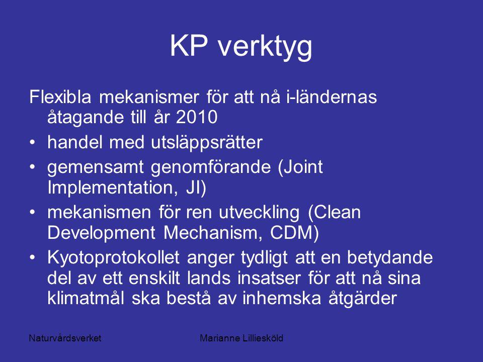 NaturvårdsverketMarianne Lilliesköld KP verktyg Flexibla mekanismer för att nå i-ländernas åtagande till år 2010 handel med utsläppsrätter gemensamt genomförande (Joint Implementation, JI) mekanismen för ren utveckling (Clean Development Mechanism, CDM) Kyotoprotokollet anger tydligt att en betydande del av ett enskilt lands insatser för att nå sina klimatmål ska bestå av inhemska åtgärder
