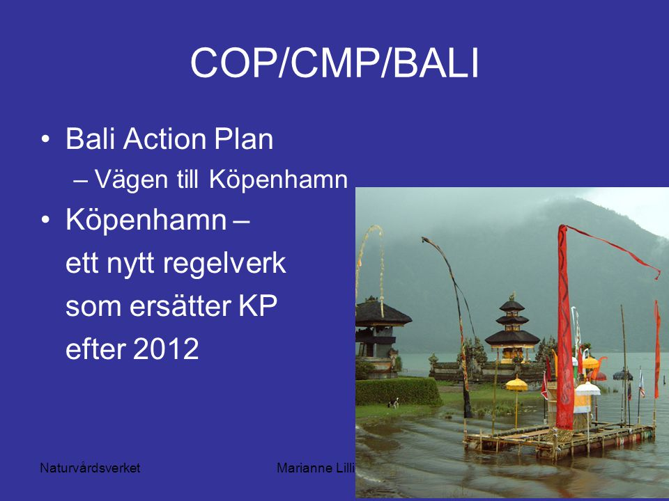 NaturvårdsverketMarianne Lilliesköld COP/CMP/BALI Bali Action Plan –Vägen till Köpenhamn Köpenhamn – ett nytt regelverk som ersätter KP efter 2012