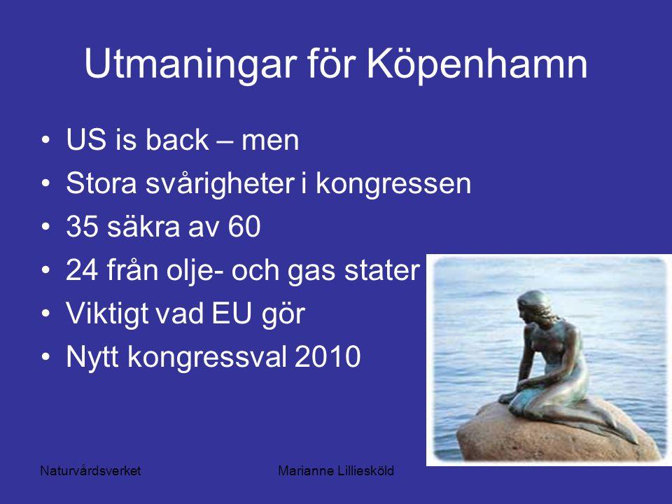NaturvårdsverketMarianne Lilliesköld Utmaningar för Köpenhamn US is back – men Stora svårigheter i kongressen 35 säkra av 60 24 från olje- och gas stater Viktigt vad EU gör Nytt kongressval 2010