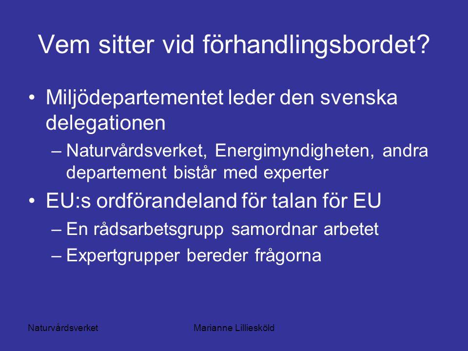NaturvårdsverketMarianne Lilliesköld Vem sitter vid förhandlingsbordet.