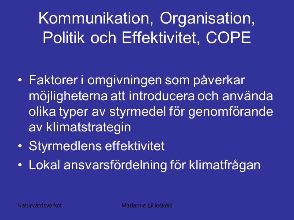 NaturvårdsverketMarianne Lilliesköld Kommunikation, Organisation, Politik och Effektivitet, COPE Faktorer i omgivningen som påverkar möjligheterna att introducera och använda olika typer av styrmedel för genomförande av klimatstrategin Styrmedlens effektivitet Lokal ansvarsfördelning för klimatfrågan