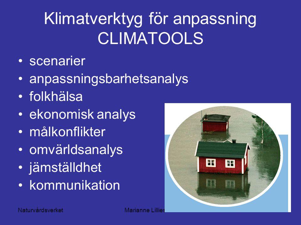 NaturvårdsverketMarianne Lilliesköld Klimatverktyg för anpassning CLIMATOOLS scenarier anpassningsbarhetsanalys folkhälsa ekonomisk analys målkonflikter omvärldsanalys jämställdhet kommunikation
